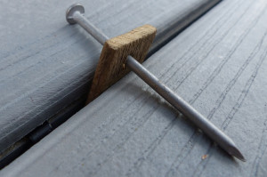 An alternative method to adding gaps between boards with a thin piece of wood.