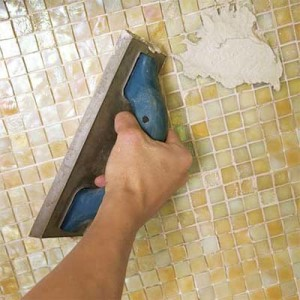 grout the tile