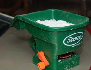 seed spreader used to spread ice melt