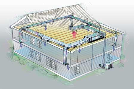 central air home cutaway view