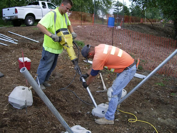 installing diamond pier pins with a jackhammer
