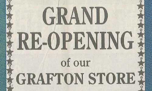 Grand Reopening Sign For Grafton Store