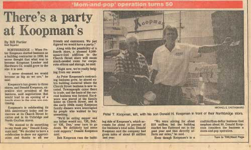 Koopman Party article from 1989
