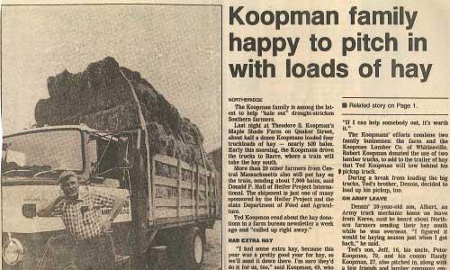 Peter Koopman Donates Hay article from 1987
